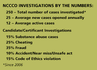 NCCCO investigations by the numbers 02-18
